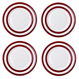 Cornishware Red and White Stripe Set of 4 Dinner Plates 11''