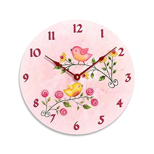 Girls wall clock. Watercolor birds on branches on a pink background. 10 inch wall clock.