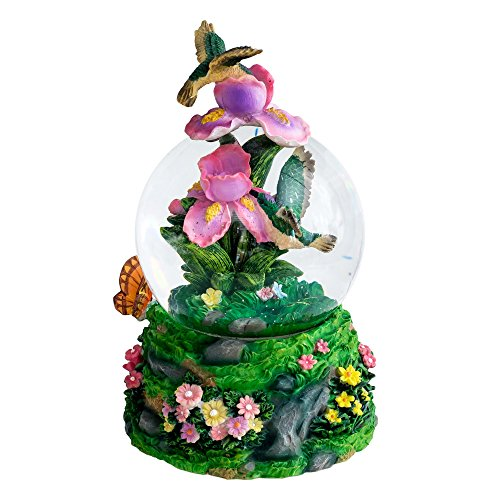 Hummingbird 100MM Resin 3D Musical Water Globe Plays Tune Waltz of the Flowers
