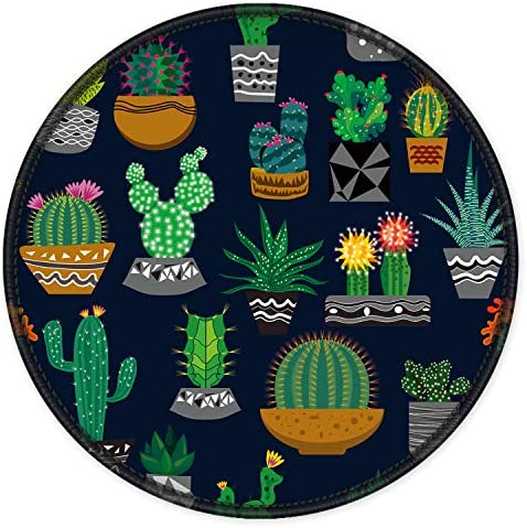 ITNRSIIET Mouse Pad Cute CactusBlack Design Round Mousepad. Customized Gaming Mousepads for Laptop and Computer. Cute Design Desk Accessories. Non-Slip Stitched Edges Waterproof
