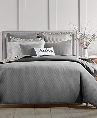 Charter Club Damask Designs Diamond Dot 300 Thread Count 3 Pieces Full Queen Comforter Set Grey