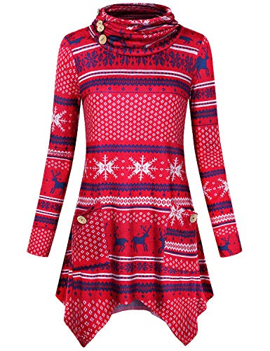 Hibelle Red Tunic Tops for Women, Plus Size Ugly Xmas Christmas Sweater Heap Collar Long Sleeved A-line Flowy Handkerchief Hem Side Pockets Deer Snowflake Printed Shirts Blouse Medium -