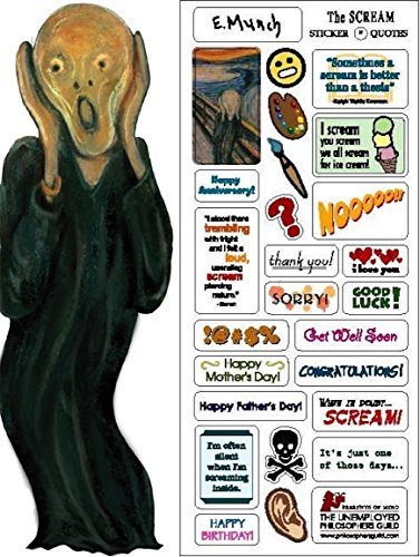 Edvard Munch Note - Edvard Munch's The Scream Quotable Notable - Die Cut Silhouette Greeting Card and Sticker Sheet