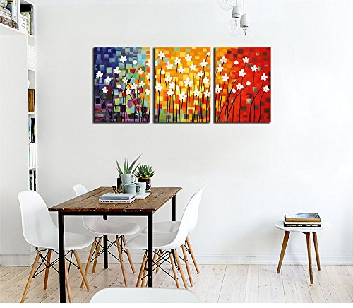 "Canvas Art Flowers Abstract Painting Contemporary Wall Art Pictures Prints White Flower Colorful Modern Artwork 12"" x 16\"" x 3 Pieces Framed Ready to Hang for Office Kitchen Wall Decor Home Decorations"