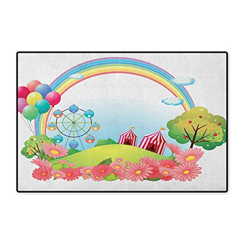 Circus,Door Mats for Home,Village Hill with Circus Tents Balloons and a Ferris Wheel Rainbow Colors Daisies,Door Mats for Inside Doorroom Mat Non Slip Backing,Multicolor,Size,20