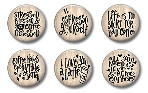 ESPRESSO COFFEE MAGNETS - Cute Locker Magnets For Teens - Set of 6 - Cute Whiteboard Snarky Magnets For Home School or Office