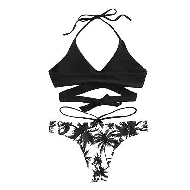 c5e1f78d1 Women Bathing Suit Floral Print Swim Bottom Pad Halter Bandage Bikini 2  Piece Swimsuits Criss Cross