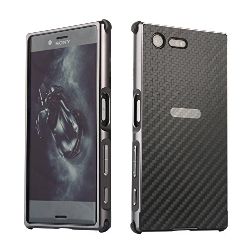 Price comparison product image Xperia XZ Premium Case,DAMONDY Luxury Carbon Fiber Design Ultra thin Imitation Metal Brushed Premium Aluminum Shockproof Protective Bumper Hard Back Case Cover for Sony XZ Premium 5.5 Inch -Black