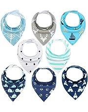 Baby Dreieckstuch Junge Lätzchen 8er Halstücher Set Baumwolle Spucktuch mit Druckknöpfen von YOOFOSS