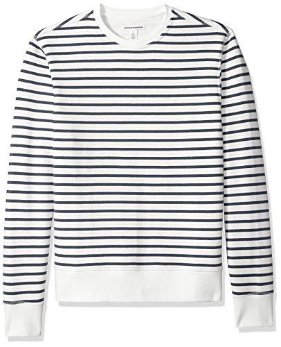 - Amazon Essentials Men's Patterened Crewneck Fleece Sweatshirt, White Stripe, Small