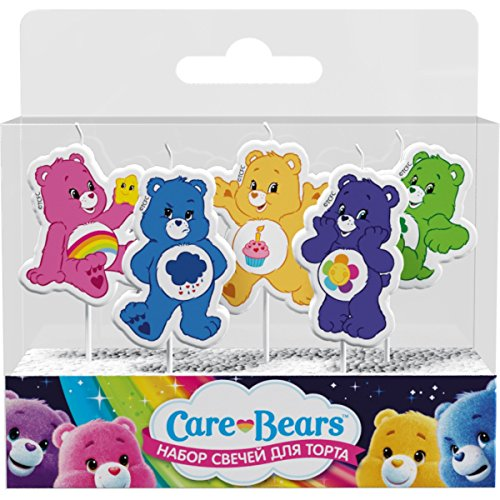 Care Bears Molded Pick Candle Set (5ct) Birthday Party Supplies Cake Topper Decoration
