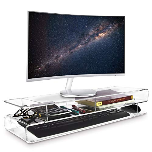 Ikee Design Acrylic Monitor 3-Tier Storage Riser Stand for Desk & Countertop with 3 - Keyboard Clear Acrylic