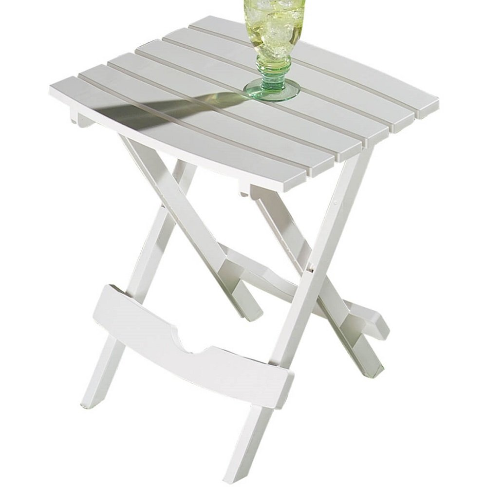 Quick Fold and Storage Indoor Outdoor Plastic Side Table - Compact, Weather-Resistant - 15''L x 17''W x 20''H (White)