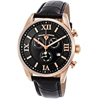 Swiss Legend Men's 'Bellezza' Swiss Quartz Stainless Steel and Leather Casual Watch, Color:Black (Model: 22011-RG-01-BLK)