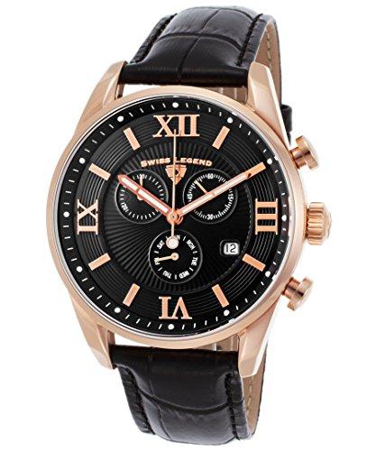 Swiss Legend Men's 'Bellezza' Swiss Quartz Stainless Steel and Leather Casual Watch, Color:Black (Model: - Watches Men Legend Swiss