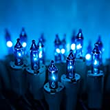 PureLock Blue Christmas String Lights - String Christmas Tree Lights - Mini Christmas Lights, Green Wire (50 lights, 25 ft)