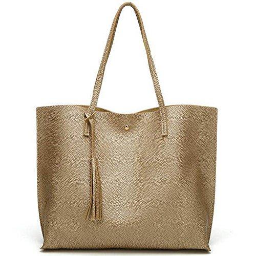 Lightweight Gold Gift Size Handbag Bag for Large Simple Women Shoulder Fashion Top Style rHzr7x