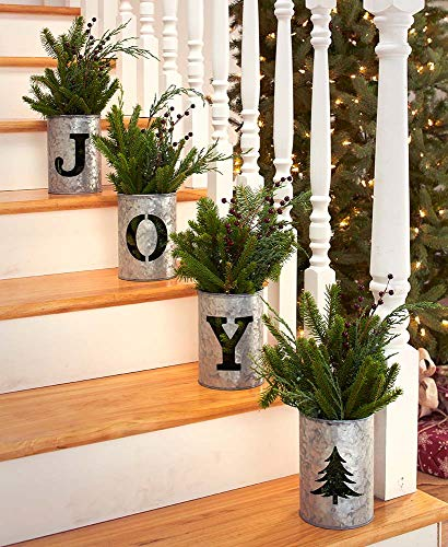 BHS 4-Pc. Set Galvanized Holiday Buckets | Holiday Decor | Christmas Decor Candle Holder | Hope Sign Noel Sign Joy Sign (Joy) (Noel Candle)