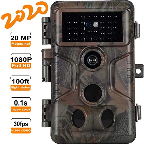 Game Trail Camera with 100ft Night Vision Motion Activated Waterproof No Glow Full HD 20MP 1920x1080P H.264 Video Deer Hunting Cam 0.1S Trigger Speed Time Lapse Password Protected Photo & Video Model