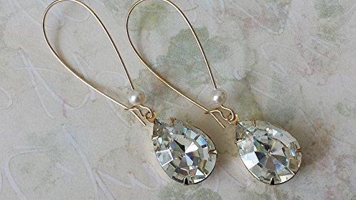 Swarovski Clear Crystal Earrings Bridals Gold Drop Jewelry
