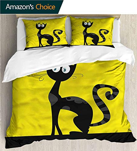 Home Duvet Cover Set,Box Stitched,Soft,Breathable,Hypoallergenic,Fade Resistant Bedding Set for Kids,Boys and Teens-Cat Cartoon Style Drawing Halloween (87