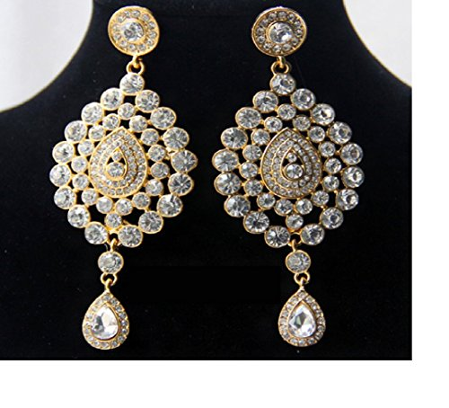 [Heavy High-End alloy-based party-wear Elegant Indian Bali Jhumkas (Drop Earrings) Indian Bollywood Style Ethnic Traditional Vintage Jewelry Wedding Bridal Party Wear For] (Bollywood Costume Party)
