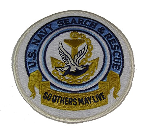 U.S. NAVY SEARCH AND RESCUE WITH SAR LOGO ROUND PATCH - COLOR - VETERAN OWNED BUSINESS -