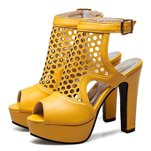 Yellow Bride Talons Taoffen Plateforme Arriere Femmes Sandales HwwYZRq