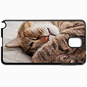 Customized Cellphone Case Back Cover For Samsung Galaxy Note 3, Protective Hardshell Case Personalized Cat Paws Muzzle Sleeping Lying Black
