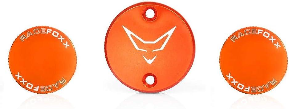 Racefoxx Deckelset Ausgleichsbehälter Bremsflüssigkeit Deckel Behälter Kupplungsflüssigkeit Für Ktm 1290 Orange Auto