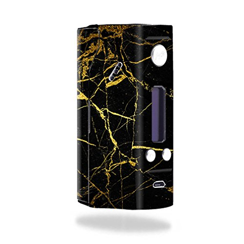 MightySkins Skin For Wismec Reuleaux RX200 – Black Gold Marble | Protective, Durable, and Unique Vinyl Decal wrap cover | Easy To Apply, Remove, and Change Styles | Made in the USA