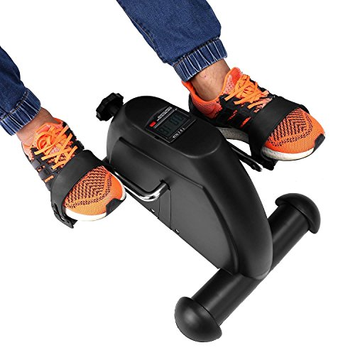 Vividy Mini Pedal Exerciser with LCD Display, Portable Physical Therapy Bike Fitness Exercise Cycle Leg Arm by Vividy