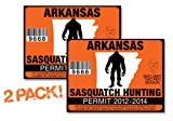 Arkanasas-SASQUATCH HUNTING PERMIT LICENSE TAG DECAL TRUCK POLARIS RZR JEEP WRANGLER STICKER 2-PACK!-AR