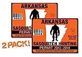 Arkanasas-SASQUATCH HUNTING PERMIT LICENSE TAG DECAL TRUCK POLARIS RZR JEEP WRANGLER STICKER 2-PACK!-AR