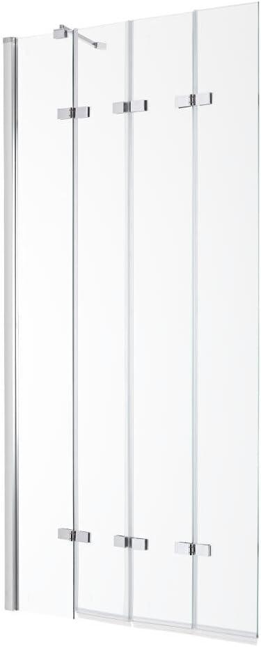 Milano Portland Plegable mampara de Baño con Cristal de Seguridad y Ajustable Perfil de Aluminio con Brazo de Pared ...