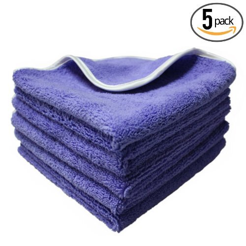 "(5-Pack) THE RAG COMPANY 16 in. x 16 in. Professional Korean 70/30 Plush Dual-Pile Microfiber Auto Detailing Towels ""Split Purple-Nality"""