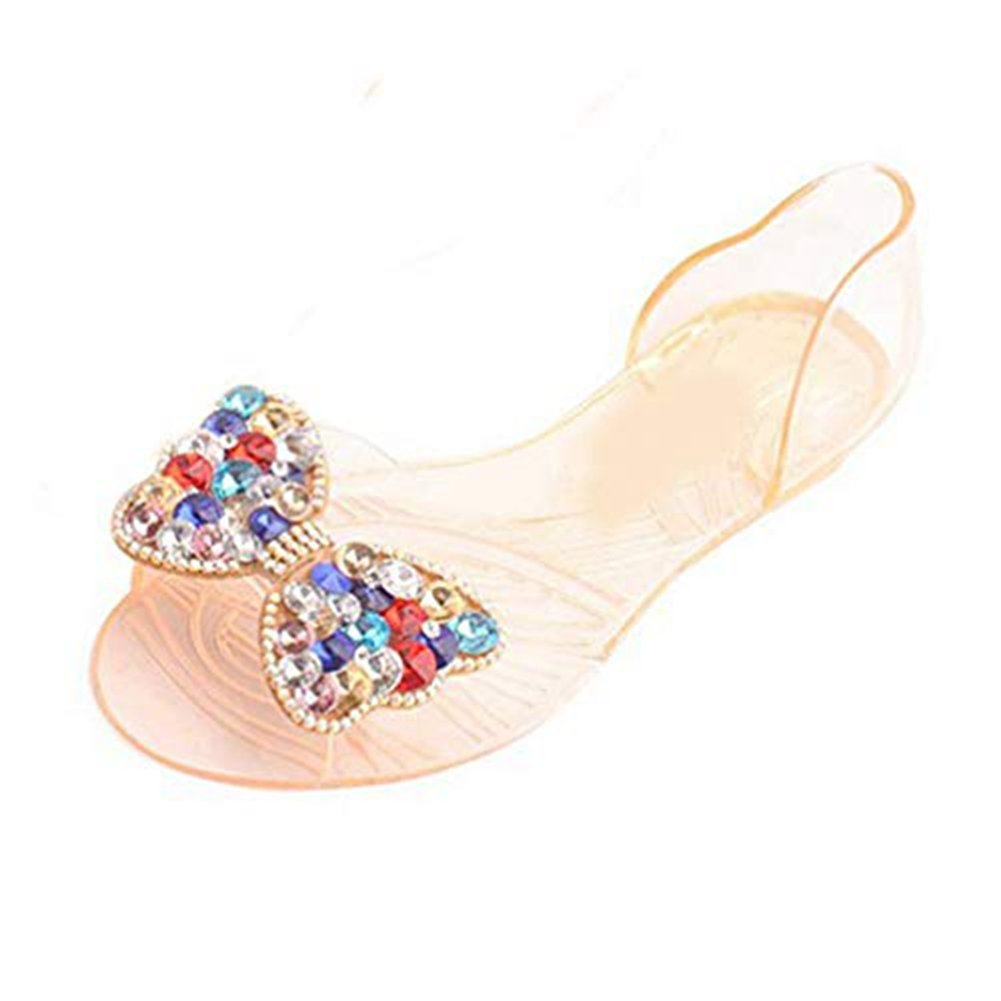 Women's Clear Jelly Butterfly Sparkle Glitter Bling Sandals Flat Sandals Bowknot Transparent Slippers Orange