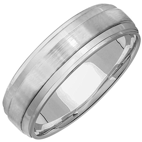 14K White Gold Top Flat Men's Comfort Fit Wedding Band (7mm) Size-9c1