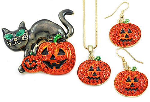 Happy Halloween Black Cat Kitten Kitty Brooch Pin Trick or Treat Jack-O-Lantern Pumpkin Necklace Pendant Earrings Jewelry Set for $<!--$29.99-->