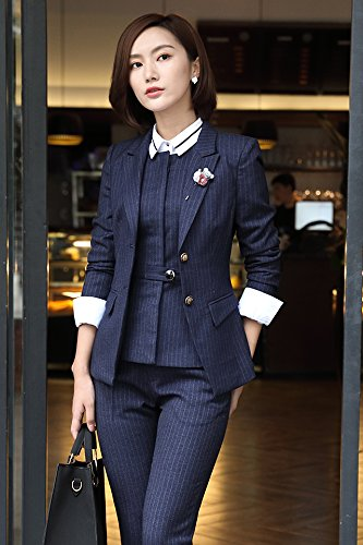 bada1d24774 Autumn and winter women s wear striped suits spring clothing business suits  denim overalls tooling interview dress