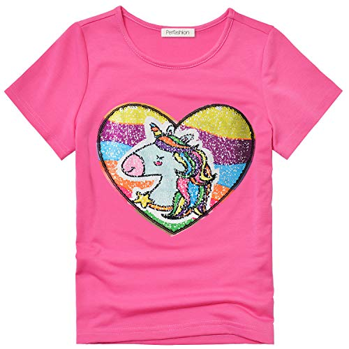 Unicorn Flip Sequin Tops for Girls 4t 5t T-Shirt Reversible Sequence Clothes