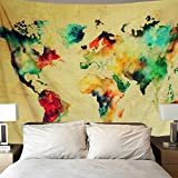 Sunm Boutique Retro Watercolor World Map Tapestry Colorful Map Tapestry Wall Hanging Bedroom Living Room Dorm Home Decor (Large/82.7'' X 59.1'') (X-Large/70.8''x 92.5'', Multi)