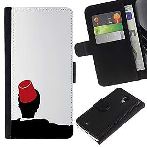 MobileX / Samsung Galaxy S4 Mini i9190 MINI VERSION! / Morocco Fez Marrakech Hat Tarboosh / Cuero PU Delgado caso Billetera cubierta Shell Armor Funda Case Cover Wallet Credit Card