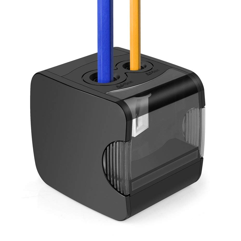 Electric Pencil Sharpener, AOFU USB Double Hole Battery Operated Heavy Duty Sharpener for kids, School and Office (Black)-003