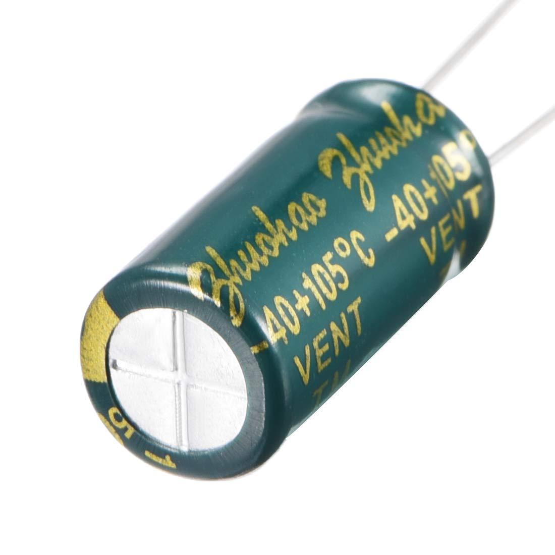 basse imp/édance 80pc Radial Condensateur /électrolytique vert faibl ESR 1500uF 10V 105/°C vie 3000H 8x16mm Courant dondulation /élev/é