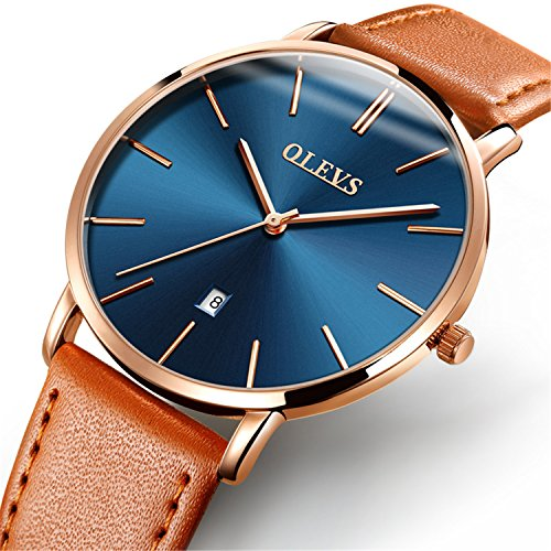 - YPF OLEVS Men's Ultra Thin Alloy Watches Quartz Analog Calendar Date Window Business Casual Slim Wristwatch Waterproof 30M 3ATM Gold Blue Dial Orange Genuine Cowhide Leather Band Simple Classic Gift