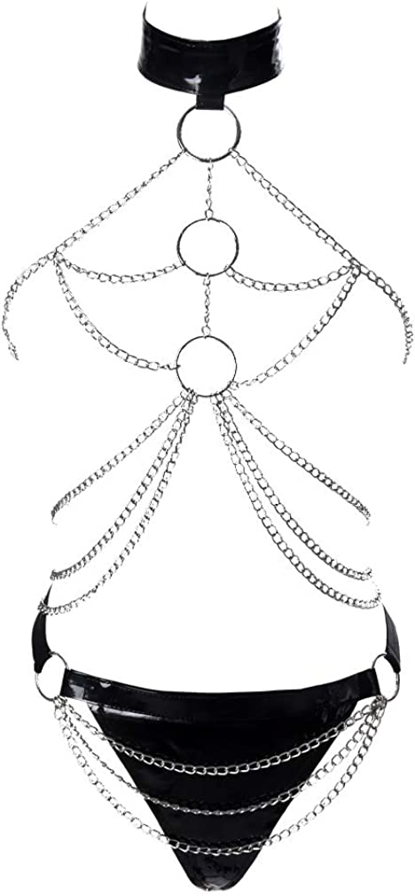 Womens Punk Pu Leather Metal Chain Harness Caged Bralette Hollow Out Waist Belt Gothic Festival Rave Costumes Black