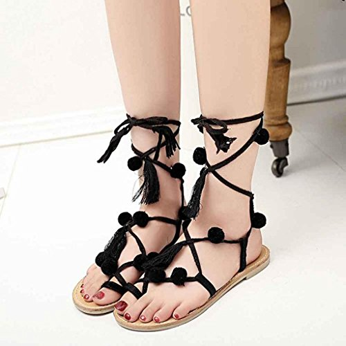 Vovotrade Mujeres Sandalias de cuero con cuentas piruleta colorido Conchas sandalias Negro