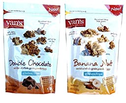 Van\'s Gluten Free Granola Clusters 2 Flavor Variety Bundle: (1) Double Chocolate, and (1) Banana Nut, 11 Oz. Ea. (2 Bags)