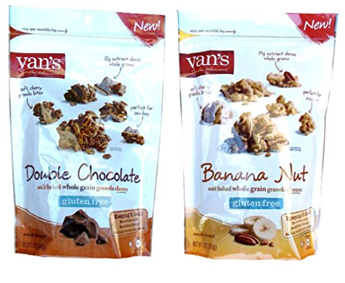 Van's Gluten Free Granola Clusters 2 Flavor Variety Bundle: (1) Double Chocolate, and (1) Banana Nut, 11 Oz. Ea. (2 Bags) by Van's